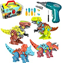 Auralto Take Apart Dinosaur Toys for Kids, Dinosaurs Toys Set, 4 Pack Educational DIY Building Toys with Electric/Hand Drills for 3-7 Year Old Boys & Girls Birthday Gifts