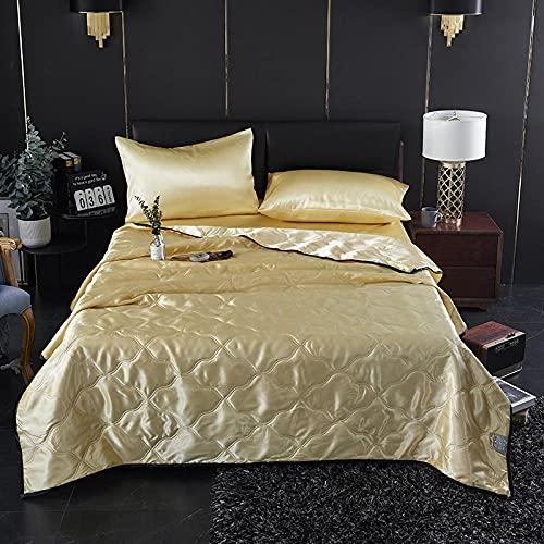 Meet Beauty Juego de cama de seda cama doble lavable seda verano edredón-color puro-individual/doble tamaño verano colcha-amarillo_colcha 150x200cm