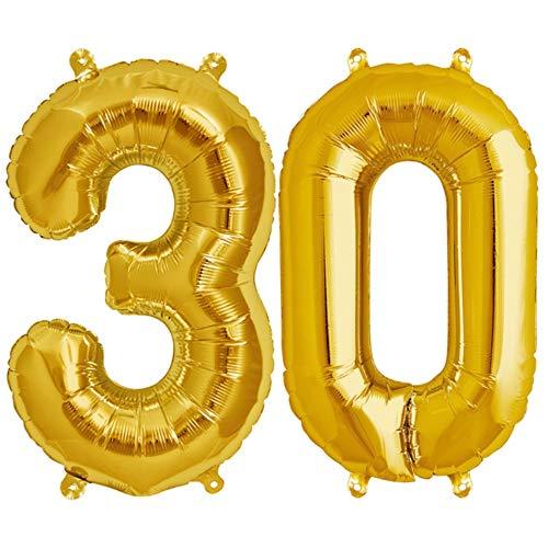 DeaGo XXL Folienballon Zahl [ca.100cm], Gold Luftballon Zahlen für Geburtstag Jubiläum & Party Geschenk partydeko Folienballon Zahlen Luftballons Happy Birthday (Gold [30])
