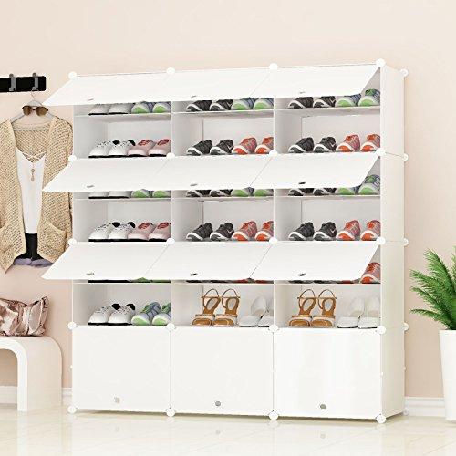 PREMAG Portable Schuhablage Organizer Tower, weiß, modulare Schrankregal für platzsparende, Schuhregal Regale für Schuhe, Stiefel, Hausschuhe 3 * 7