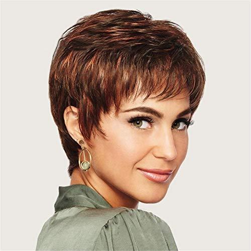 FFwig Perücken Zum Frau Kurz Flauschige Gelockt Braun Mischen Blond Haar Perücken mit Bangs Hitze Beständig Synthetik Haar Perücke + Perücke Deckel 10