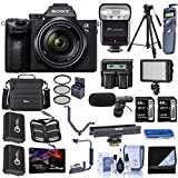 Sony Alpha a7 III 24MP UHD 4K Mirrorless Camera with FE 28-70mm Lens - Bundle with 2X 64GB SDXC Cards, Camera Case, 2X Spare Batteries, Shotgun Mic, BC LED Light, TTL R2 Flash, Pro Software, More