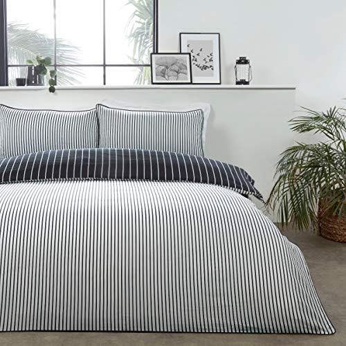 Sleepdown Juego edredón y Fundas de Almohada para Cama Doble (200 x 200 cm), diseño de Rayas, Color, Polialgodón, Negro, Blanco, Doublé