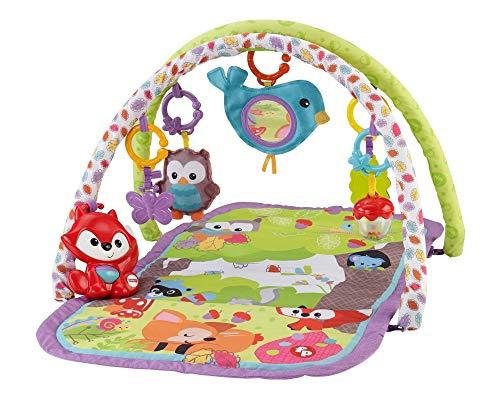 Fisher-Price CDN47 Waldfreunde 3-in-1 Spieldecke Krabbeldecke mit Musik weichem Spielbogen Babyerstausstattung, ab 0 Monaten