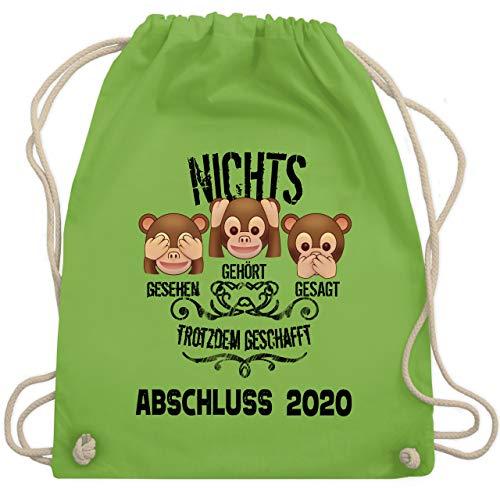 Shirtracer Abi & Abschluss - 3 Affen Emoticons ABSCHLUSS 2020 - Unisize - Hellgrün - geschenke abitur 2019 - WM110 - Turnbeutel und Stoffbeutel aus Baumwolle