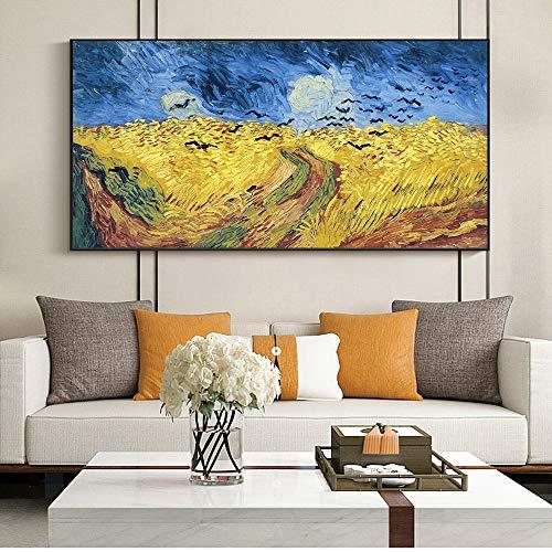 wZUN Pintura al óleo del Campo de Trigo de Van Gogh, Carteles Impresos e Impresiones en Lienzo, imágenes murales impresionistas, decoración del hogar, 40x80cm