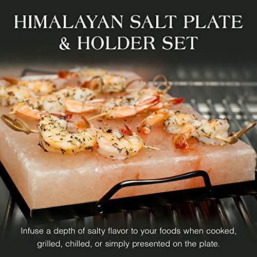 "Charcoal Companion CC6064 Himalayan Salt Plate & Holder Set, 12"" x 8"" x 1.5"", Black"