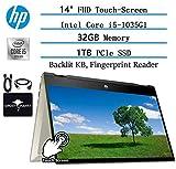 "2020 Newest HP x360 Pavillion 2in1 Convertible 14"" FHD Touchscreen Flagship Laptop, 10th Gen Intel Core i5-1035G1(Beat i7-8550U), 32GB RAM, 1TB PCIe SSD, FP-Reader, Backlit-KB,Win10,/w GM Accessories"