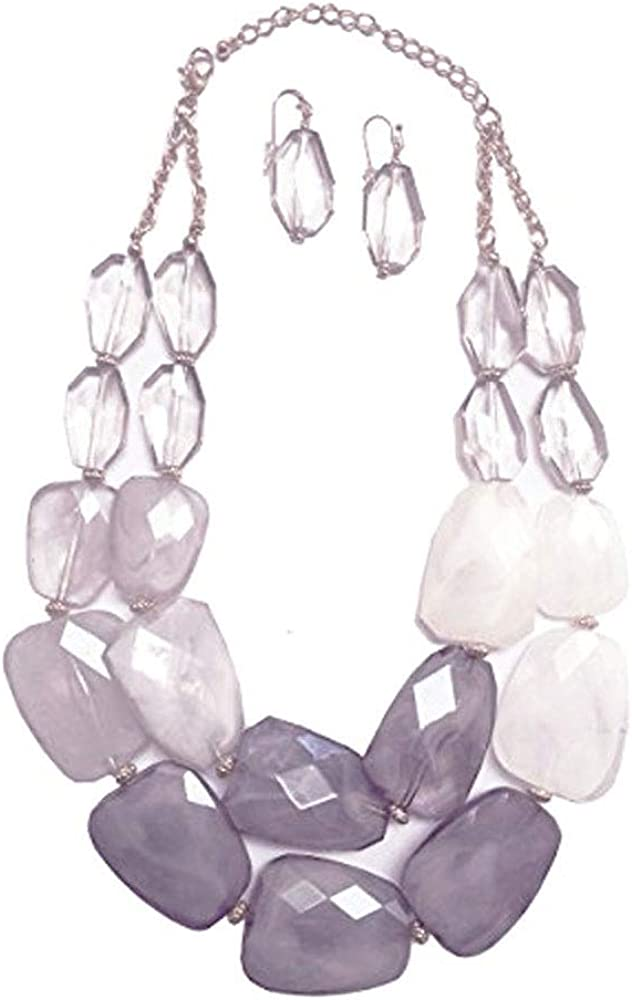 Grey Smoky Quartz Pale Gray Charcoal Slate Frosted White Colored Resin Stone Big Chunky Statement Necklace