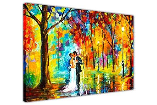 Rainy Romantic Wedding di Leonid Afremov. Pittura ad olio astratta; ristampa; quadro su tela con cornice; stampe artistiche da parete, Tela, 06- A0 - 40' X 30' (101CM X 76CM)