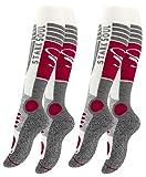VCA - 2pares de calcetines funcionales de esquí para mujer, calcetines de esquí con acolchado especial, Otoño-Invierno, Mujer, color Color blanco, gris y rojo., tamaño 35-38