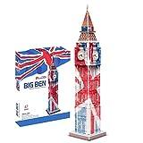 SNOWER para Adultos y niños, Rompecabezas 3D de construcción de Modelos, Recuerdo y decoración de construcción de Papel, Bandera británica del Big Ben, 47 Piezas