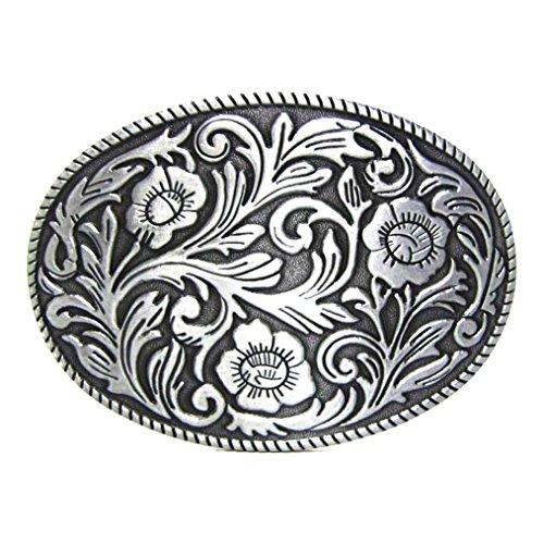 MASOP Antique Engraved Flower Solid Metal Belt Buckle Men Women Western Cowboy, Silver
