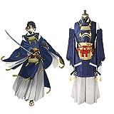 CGBF - Touken Ranbu Online Mikazuki Munechika Anime Cosplay Disfraz de adulto Kimono Set,Azul,S