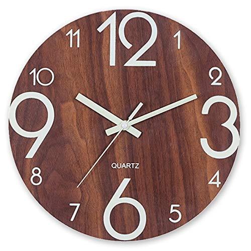 hufeng Wanduhr Leuchtende Wanduhr Silent Vintage Wooden Glowing Wall Clock Retro Holzuhren mit Nachtlichtern für Küche Wohnzimmer Dekor