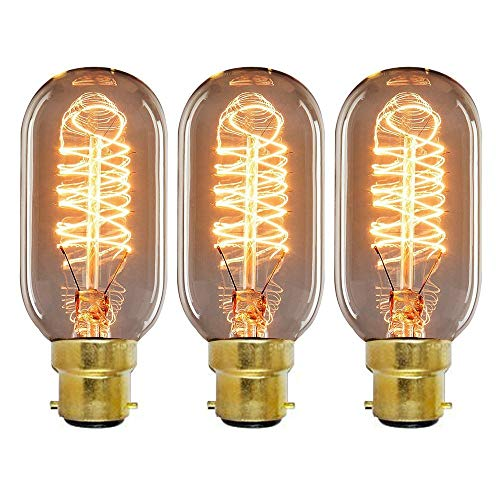 Onepre Pack of 3 Vintage Edison Light Bulb BC B22 Bayonet 40W Tube Style...
