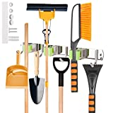 Mop and Broom Holder Wall Mount,Broom and Mop Holder Wall Mounted Stainless Steel 304 Kitchen Cleaning Tools Storage Green Color 3 Grips and 4 Hooks