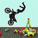 Pegatinas de pared Pegatinas de decoración de pared de moda Impresión negra Fondo de motocicleta...