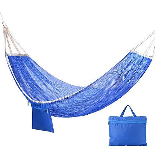 HUANXI Tragbar Single Reisehängematte mit Bindeseil,300kg Tragfähigkeit (200x125cm) Blaues Netz Liege Garten für Outdoor Camping Wandern Picknick Reisen