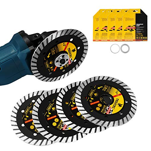 Diamond Saw Blade 4-1/2 inch Continuous Rim Tile Blade with 5/8 or 7/8 inch Arbor Tile Cutter Blade for Cutting Porcelain Tile, Ceramic Tile, Stone & Similar Materials 10mm Widen Saw Blade 5 Pack