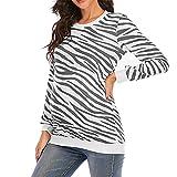 Camiseta para mujer de manga larga para mujer Camisetas de béisbol Blusa superior con cuello redondo de cuello redondo con estampado de rayas maternidad Camiseta suelta torcida Blusas Tops tipo túnica