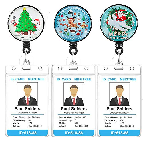 3Pack Retractable Badge Holder with Alligator Clip On ID Card Holders for Office Worker Doctor Nurse with Vertical Style Clear ID Card Holders (3Pack-Christmas 2)