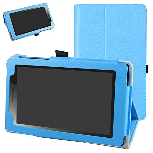 Mama Mouth Lenovo TAB3 A7-10 / Tab 3 Essential Case, PU Leather Folio 2-folding Stand Cover for 7' Lenovo Tab3 7 Essential 710F 710I Android Tablet 2016,Light Blue