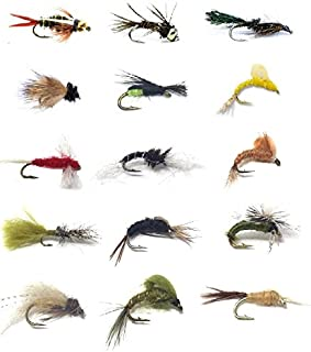 Feeder Creek Fly Fishing Assortment for Trout and Other Freshwater Fish - 30 Dry and Wet Flies in 15 Patterns (2 of Each P...