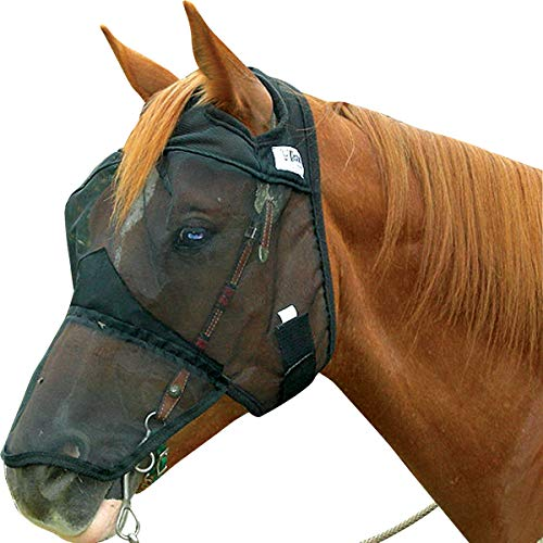 Cashel Quiet Ride Standard Horse Fly Mask with Long Nose (Yearling/Large Pony, Black)