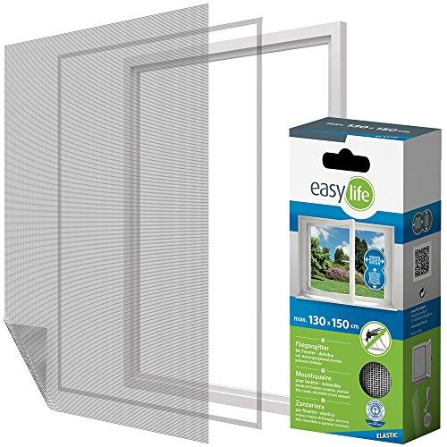 Elastic Insektenschutz Fliegengitter Fenster 130 x 150 cm weiss