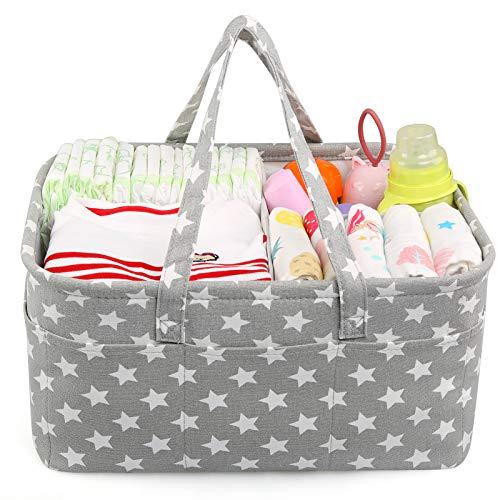 LEADSTAR Bebé Organizador de Pañales,Cesta de Almacenamiento de Pañales con Compartimentos Extraíbles,Cesto de Pañales Portátil para Recién Nacido Coche Viaje,Regalo de Registro de Bebé (Gris Star)