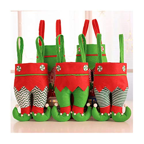 Memeishop Christmas Candy Bag and Treats Holders Basket with Green Skirt and Candy Striped Stock for Xmas House Décor Small Gift Bag to Kid and for Party Supplies Xmas Tree Decor