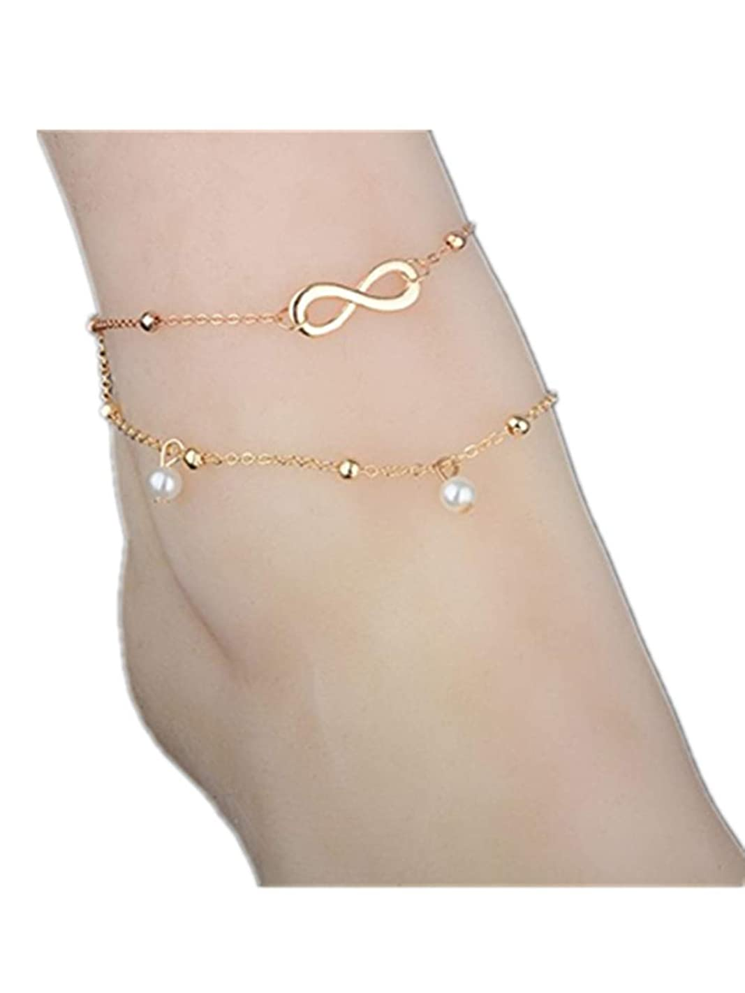 Afco Boho Beach Sandal Barefoot Infinity Charm Bead Ankle Bracelet 2 Layers Anklet Summer Beach Jewelry