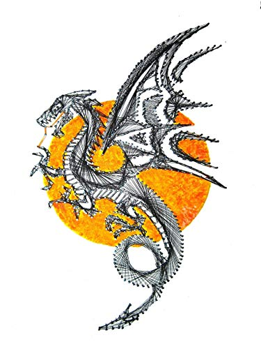 """Dragon string art 16"""" x 10.5"""", painted background by Art of string"""