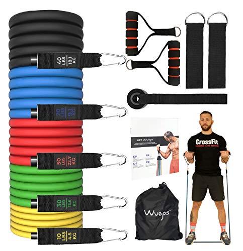 Wueps  Bandas elásticas musculación, gomas elásticas fitness, para entrenar al aire libre GYM o en casa - 5 cintas elásticas musculación/Manijas/Ancla de Puerta/Correas de Tobillo/Bolsa de Transporte