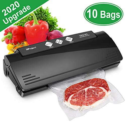 Vacuum Sealer, Automatic Food Vacuum Sealer Machine for Food Preservation Sous Vide, Multifunction Vacuum Sealing System with 10 Seal Bags and 1 Cutter, Dry and Moist Modes Compact | ETL & UL Safety Certified Black