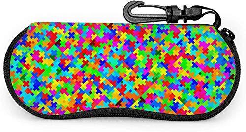 ARRISLIFE Soft Estuche para gafas de sol With Carabiner,Colorful Patterns Ultra Light Portable Neoprene Zipper Eyeglass Bag Colorful plus pattern