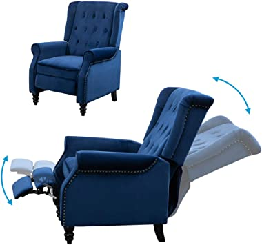 HomeSailing Single Living Room Recliner Chair Navy Blue with Footrest Vintage Wing Back Armchair Velvet Bedroom Adjustable Pu