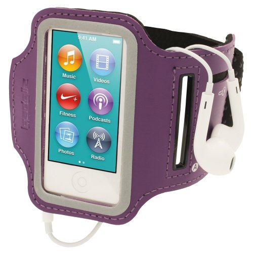 igadgitz U2135 Sports Armband Oberarmtasche Kompatibel mit Apple iPod Nano 7. Gen - Lila