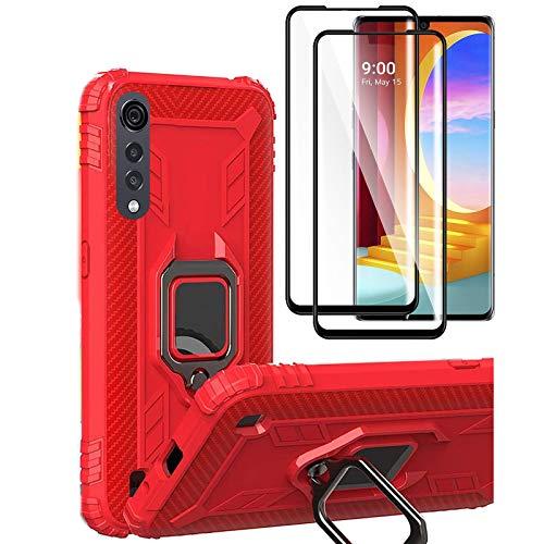 HYMY Hülle für LG Velvet 5G + 2 x Schutzfolie Panzerglas - Red Schutzhülle Kohlefaser Weich TPU Handytasche Handyhülle Silikon Handyfall Im Freien Stoßdämpfung Hülle