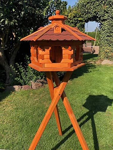 Darlux - Comedero para pájaros (tamaño XL, madera con soporte), color marrón y rojo