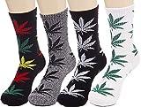 Lucky Ben - Pack de 4 pares de calcetines de algodón con estampado de hojas de marihuana, colores mezclados, apto para zapatos talla 7-11 - Multi -