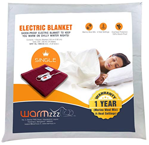Warmzzz Wool Electric Blanket for Single Bed. Shock-Proof Blanket Heater with 4 Heat Settings - Maroon