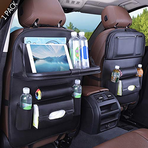 SIJAWEYI Car Seat Organizer, Backseat Car Organizer, Protector Kick Mats for Kids, Table Tray, Foldable Dining Table with iPad and Tablet Holder, Travel Accessories Organizer (1 Pack)