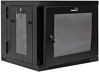 NavePoint 9U Wall Mount Hinged Swing Out Perforated IT Server Network Rack Cabinet Lock