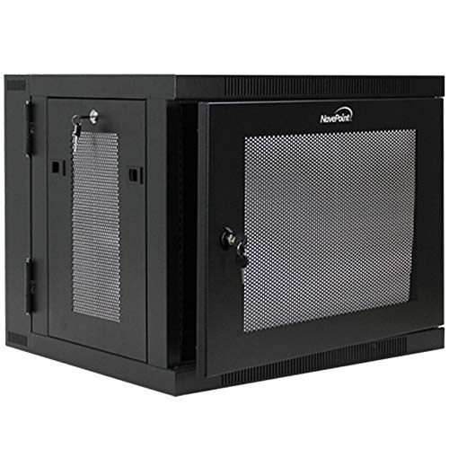 NavePoint 9U Wall-Mount Network Cabinet Enclosure, 450mm Depth, Hinged Back, Swing Gate Server Cabinet, Locks, Pre-Assembled, Perforated Front Door, 1 x L Brackets, Cable Management