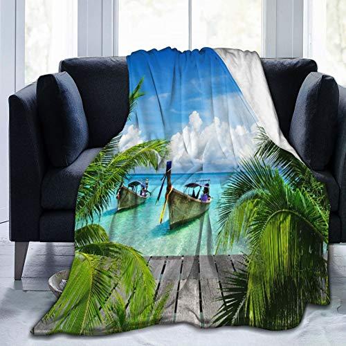 LISNIANY Flanell Fleece Soft Throw Decke,Strand und tropisches Meer Holzdeck schwimmende Boote Sunshine Honeypot,für Sofas Sofa Stühle Couch Leicht,warm und gemütlich 204x153cm