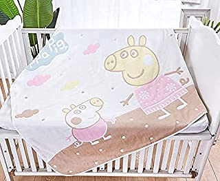 Ręcznik kąpielowy Świnka Peppa, kocyk dziecięcy letni, gaza bawełniana, sześciowarstwowy koc z gazy (Różowy)