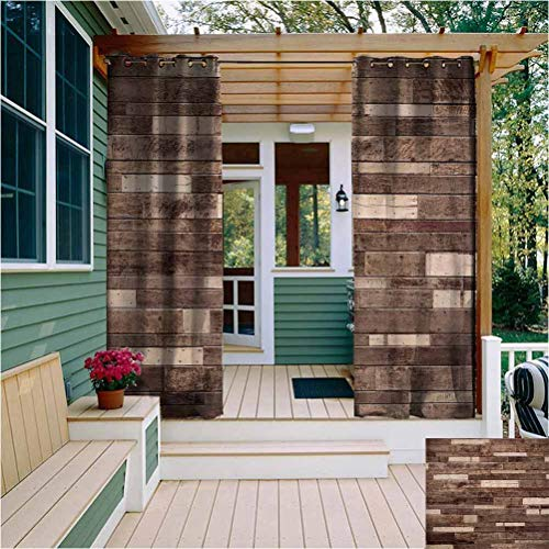 Wooden Extra Long Outdoor Curtain Wall Floor Textured Planks Panels Picture Art Print Grain Cottage Lodge Hardwood Pattern Bathroom Curtain Brown W108 x L84 Inch