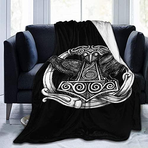 DSZQTT Ravens Norse Mythology - Manta vikinga para cama, sofá, cama, transpirable, impresión 3D, manta de franela de 200 x 150 cm
